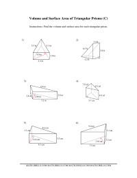 volume and surface area of triangular prisms c measurement worksheet. Black Bedroom Furniture Sets. Home Design Ideas