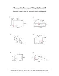 volume and surface area of triangular prisms d measurement worksheet. Black Bedroom Furniture Sets. Home Design Ideas