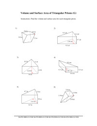 volume and surface area of triangular prisms g measurement worksheet. Black Bedroom Furniture Sets. Home Design Ideas