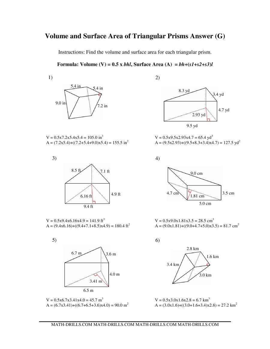 The Volume and Surface Area of Triangular Prisms (G) Math Worksheet Page 2