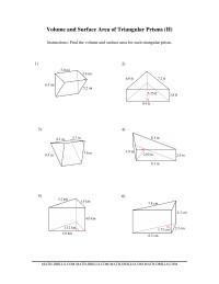 volume and surface area of triangular prisms h measurement worksheet. Black Bedroom Furniture Sets. Home Design Ideas