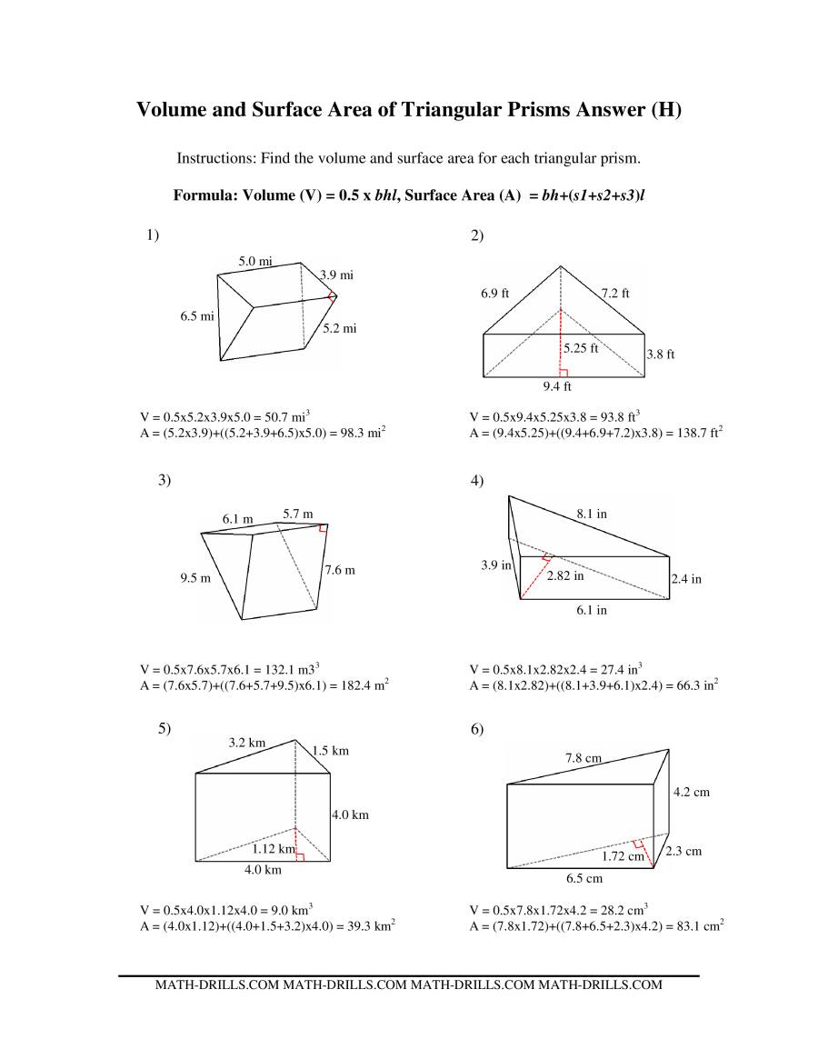 The Volume and Surface Area of Triangular Prisms (H) Math Worksheet Page 2