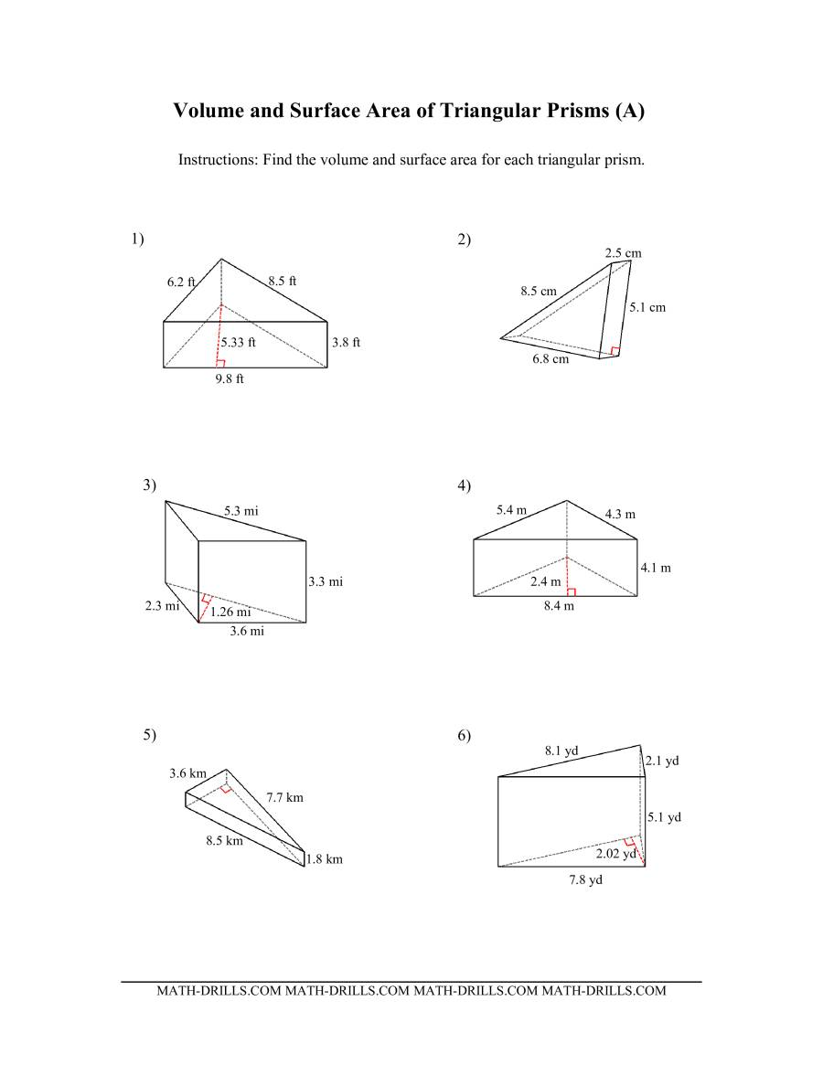 The Volume and Surface Area of Triangular Prisms (All) Math Worksheet