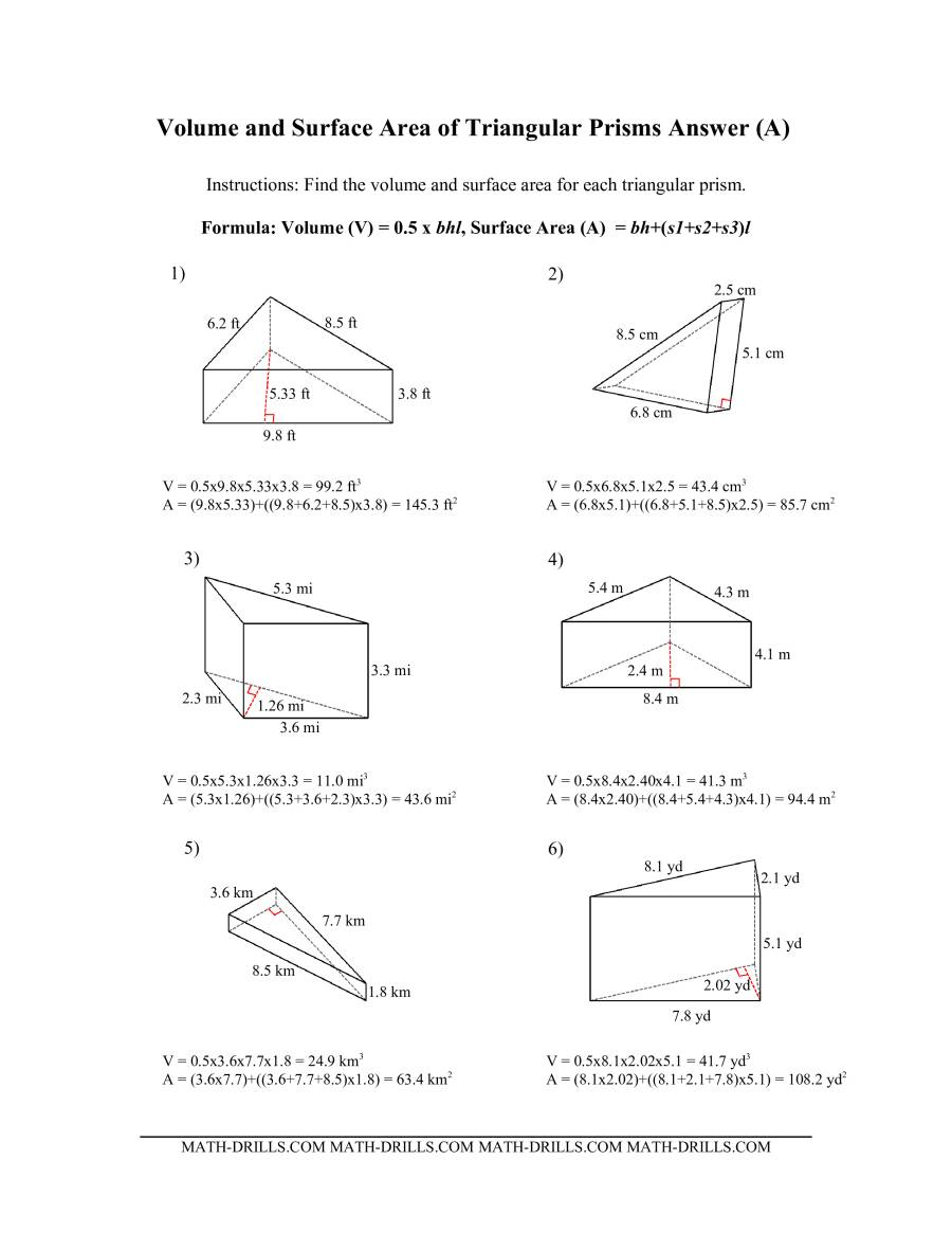 The Volume and Surface Area of Triangular Prisms (All) Math Worksheet Page 2