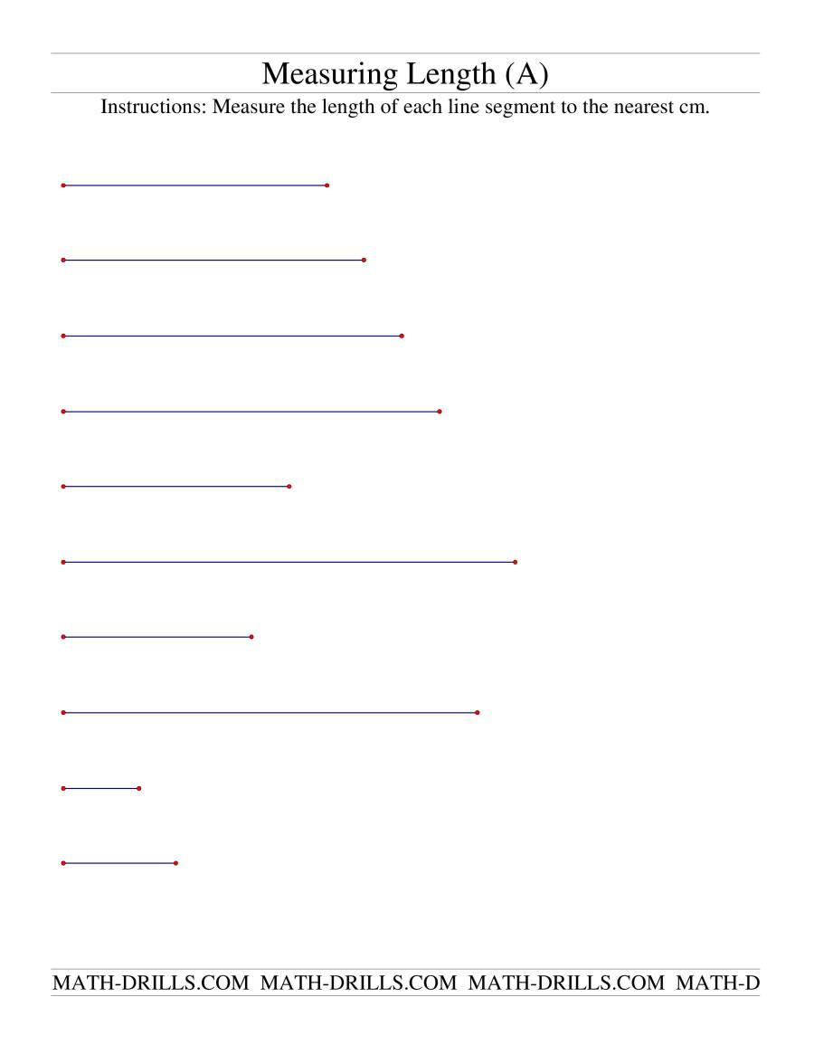Measuring Length of Line Segments in cm (A) Measurement ...