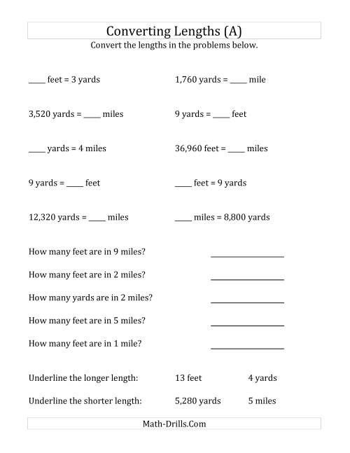 worksheet Converting Feet To Miles converting between u s feet yards and miles a arithmetic