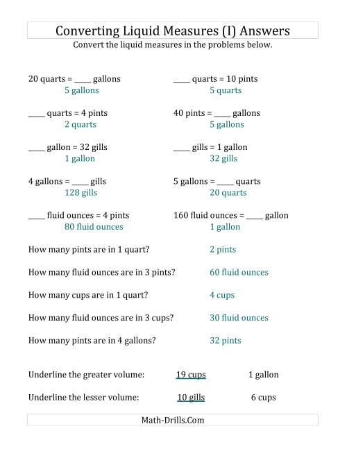 The Imperial Liquid Measurements Conversion (I) Math Worksheet Page 2