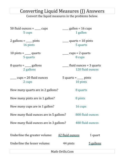 The Imperial Liquid Measurements Conversion (No Gills) (J) Math Worksheet Page 2