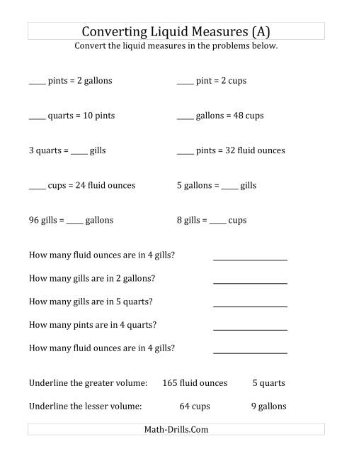 The U.S. Liquid Measurements Conversion (A) Math Worksheet