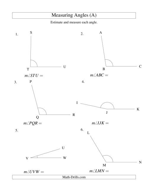The Measuring Angles Between 5° and 175° (A) Math Worksheet