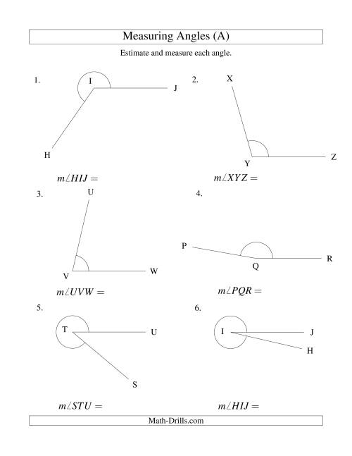 The Measuring Angles Between 5° and 355° (A) Math Worksheet