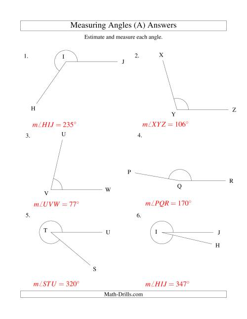The Measuring Angles Between 5° and 355° (A) Math Worksheet Page 2