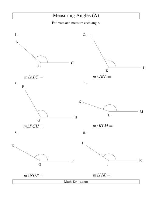 The Measuring Angles Between 90° and 175° (A) Math Worksheet