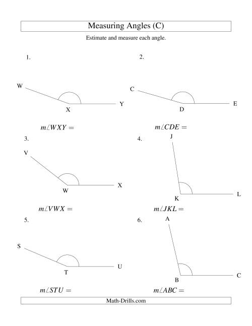 The Measuring Angles Between 90° and 175° (C) Math Worksheet