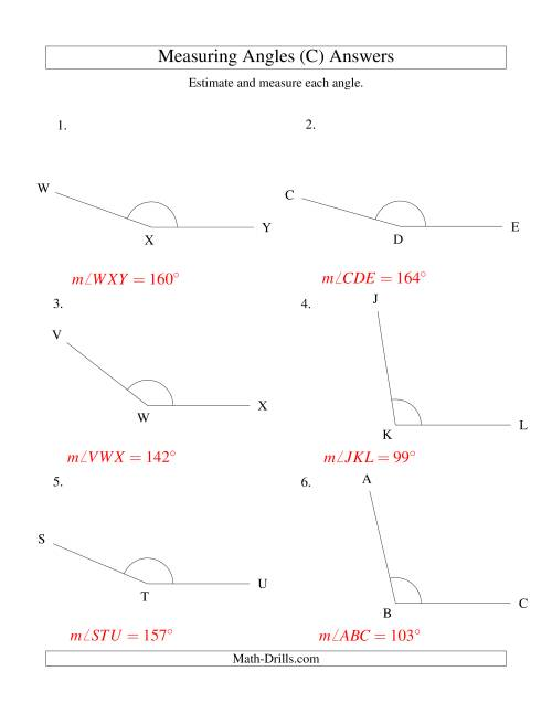 The Measuring Angles Between 90° and 175° (C) Math Worksheet Page 2