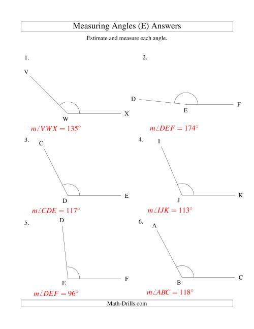 The Measuring Angles Between 90° and 175° (E) Math Worksheet Page 2