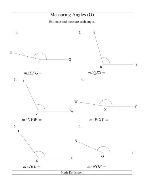The Measuring Angles Between 90° and 175° (G) Math Worksheet