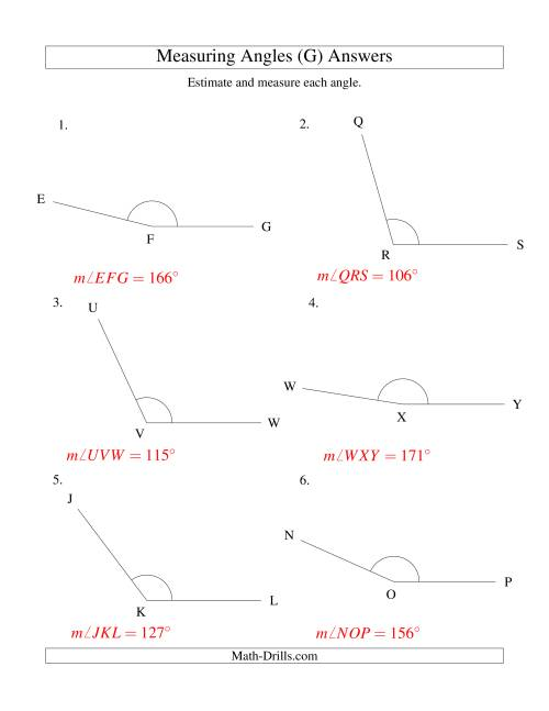 The Measuring Angles Between 90° and 175° (G) Math Worksheet Page 2