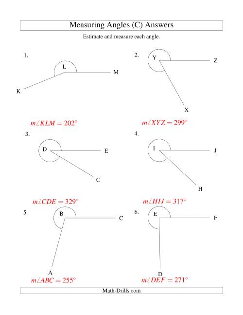 The Measuring Angles Between 185° and 355° (C) Math Worksheet Page 2
