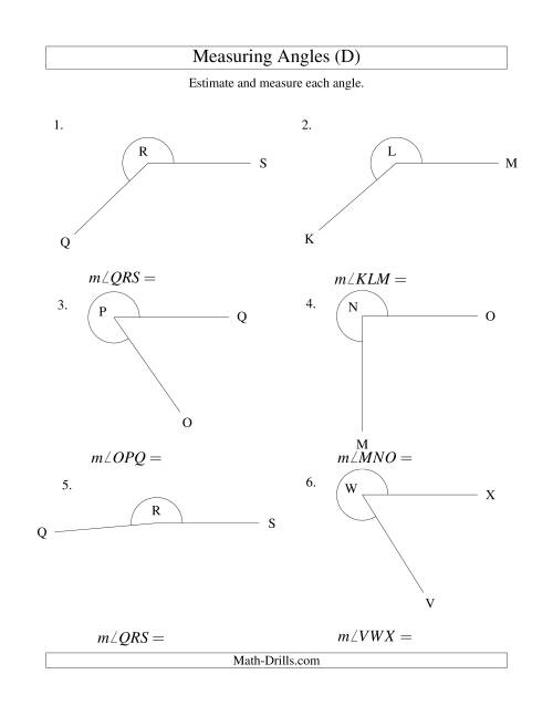 The Measuring Angles Between 185° and 355° (D) Math Worksheet
