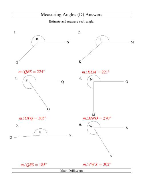 The Measuring Angles Between 185° and 355° (D) Math Worksheet Page 2