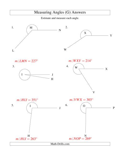The Measuring Angles Between 185° and 355° (G) Math Worksheet Page 2