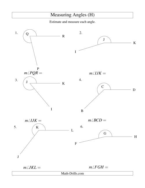 The Measuring Angles Between 185° and 355° (H) Math Worksheet