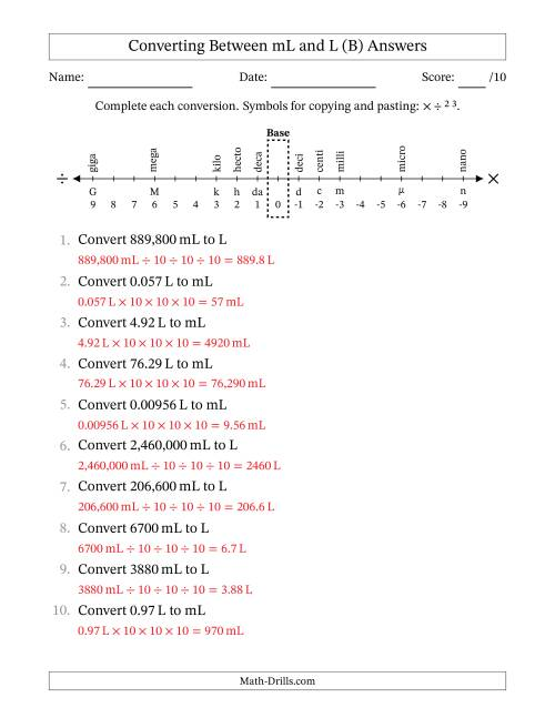 The Converting Liters and Milliliters (B) Math Worksheet Page 2