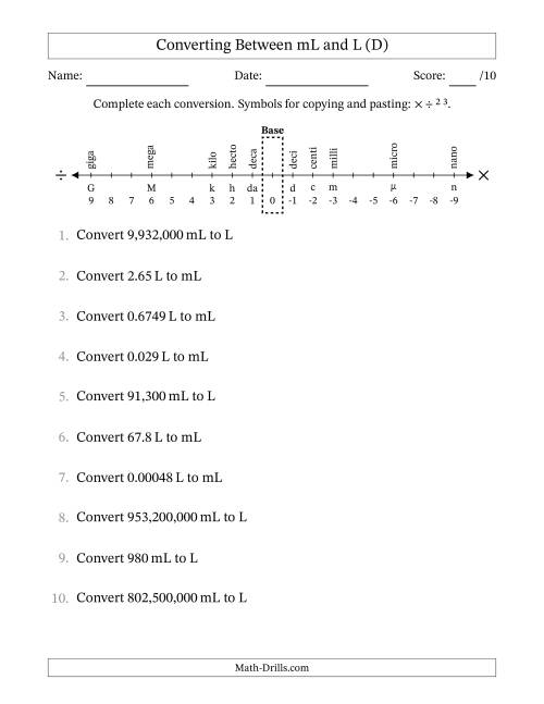 The Converting Liters and Milliliters (D) Math Worksheet