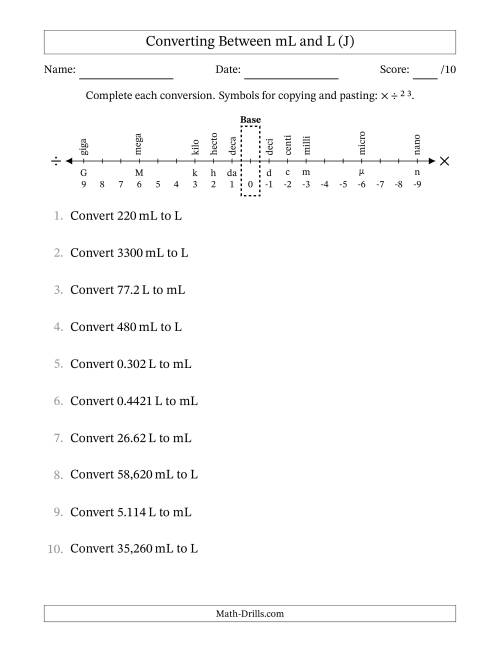 The Converting Liters and Milliliters (J) Math Worksheet
