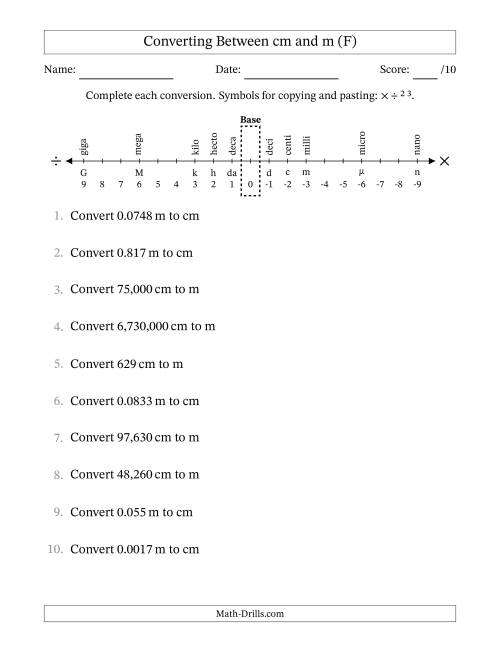 The Converting Centimeters and Meters (F) Math Worksheet