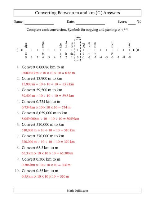 The Converting Meters and Kilometers (G) Math Worksheet Page 2