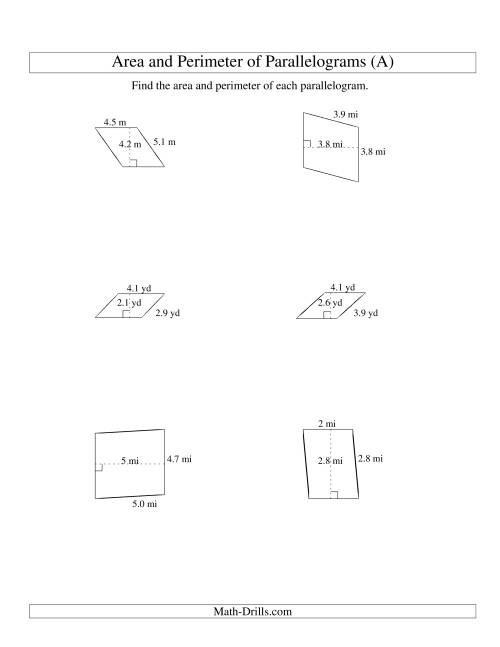 The Area and Perimeter of Parallelograms (up to 1 decimal place; range 1-5) (A) Math Worksheet