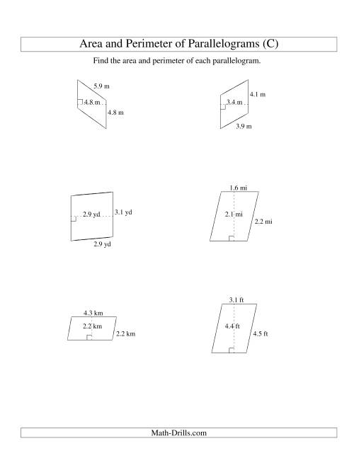 The Area and Perimeter of Parallelograms (up to 1 decimal place; range 1-5) (C) Math Worksheet