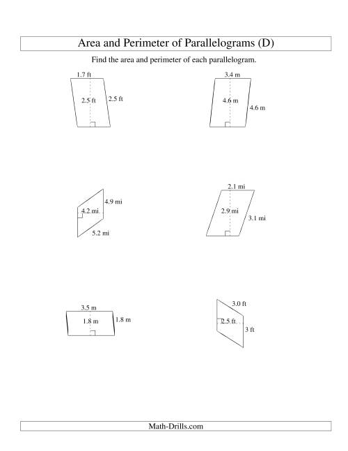 The Area and Perimeter of Parallelograms (up to 1 decimal place; range 1-5) (D) Math Worksheet
