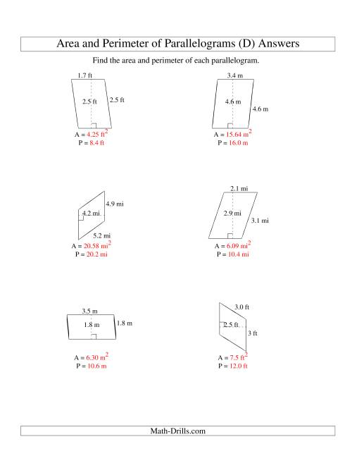 The Area and Perimeter of Parallelograms (up to 1 decimal place; range 1-5) (D) Math Worksheet Page 2