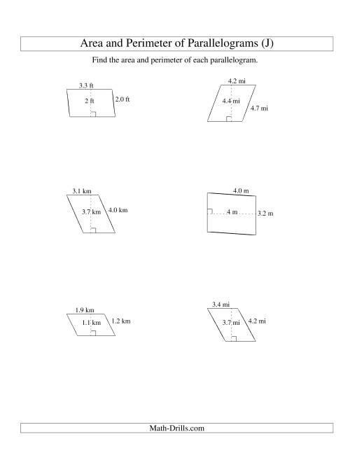 The Area and Perimeter of Parallelograms (up to 1 decimal place; range 1-5) (J) Math Worksheet