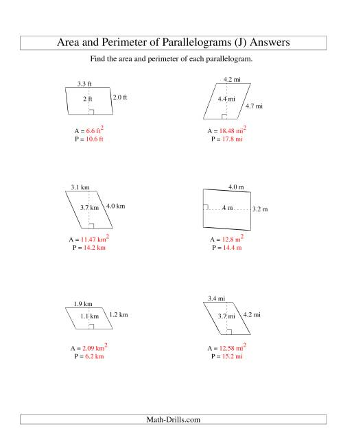 The Area and Perimeter of Parallelograms (up to 1 decimal place; range 1-5) (J) Math Worksheet Page 2
