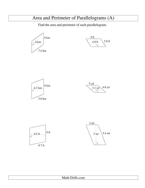Printables Area Of Parallelogram Worksheet area and perimeter of parallelograms whole number base range 1 9 arithmetic
