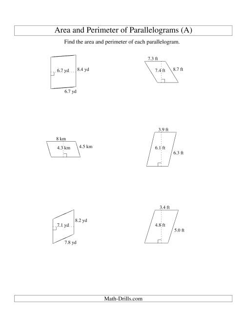 The Area and Perimeter of Parallelograms (up to 1 decimal place; range 1-9) (A) Math Worksheet