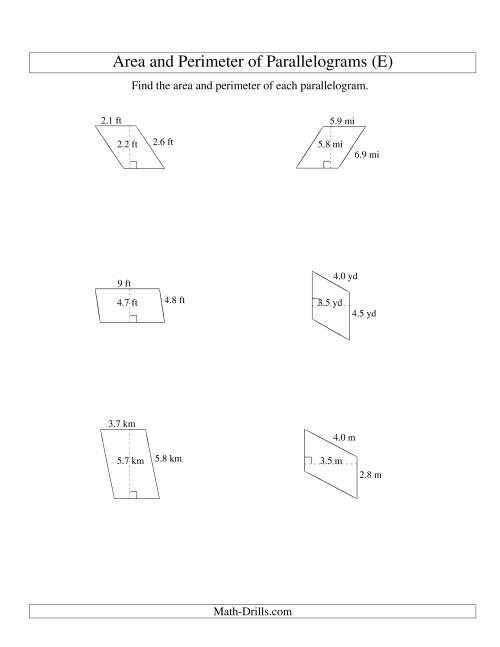 The Area and Perimeter of Parallelograms (up to 1 decimal place; range 1-9) (E) Math Worksheet