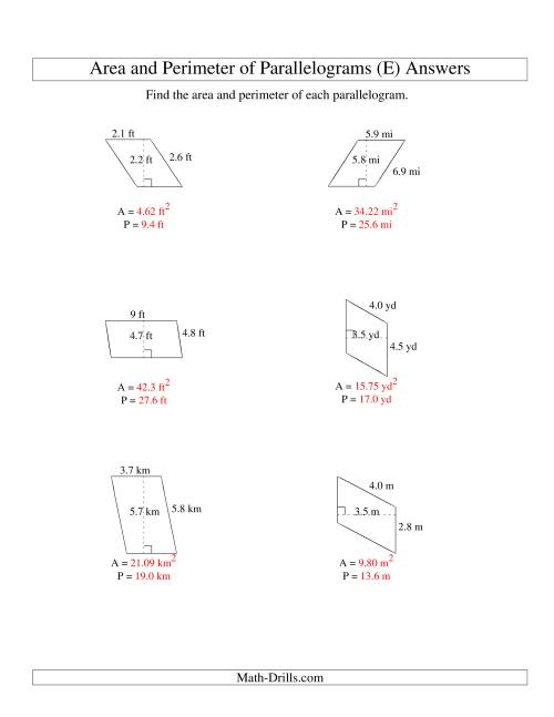 The Area and Perimeter of Parallelograms (up to 1 decimal place; range 1-9) (E) Math Worksheet Page 2