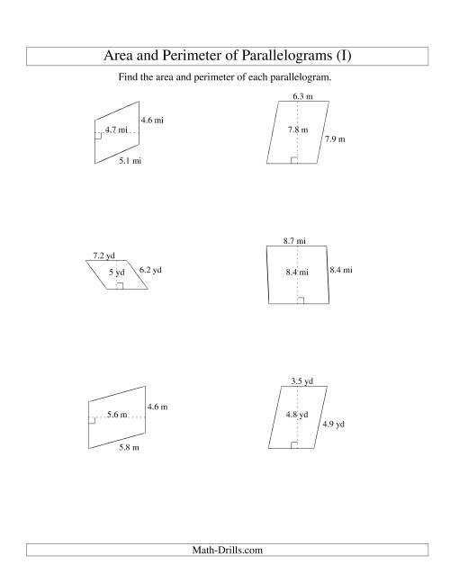 The Area and Perimeter of Parallelograms (up to 1 decimal place; range 1-9) (I) Math Worksheet