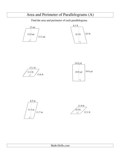 The Area and Perimeter of Parallelograms (up to 1 decimal place; range 5-20) (A) Math Worksheet