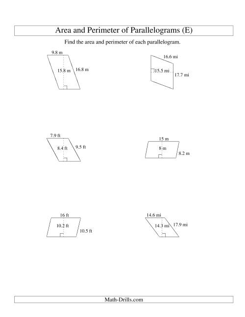 The Area and Perimeter of Parallelograms (up to 1 decimal place; range 5-20) (E) Math Worksheet