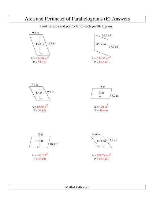The Area and Perimeter of Parallelograms (up to 1 decimal place; range 5-20) (E) Math Worksheet Page 2