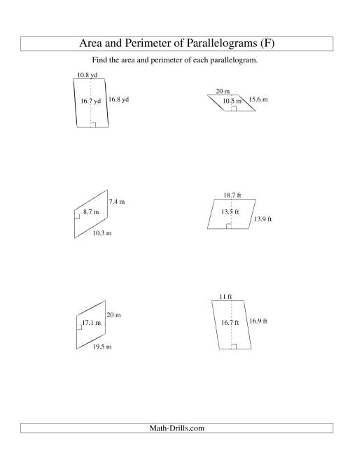 The Area and Perimeter of Parallelograms (up to 1 decimal place; range 5-20) (F) Math Worksheet