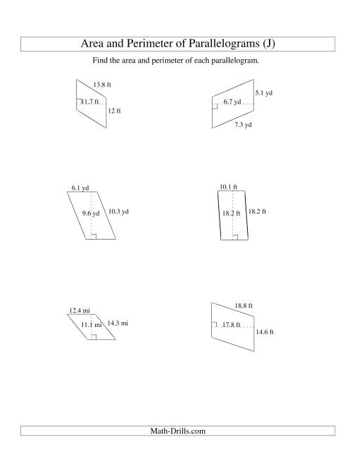 The Area and Perimeter of Parallelograms (up to 1 decimal place; range 5-20) (J) Math Worksheet