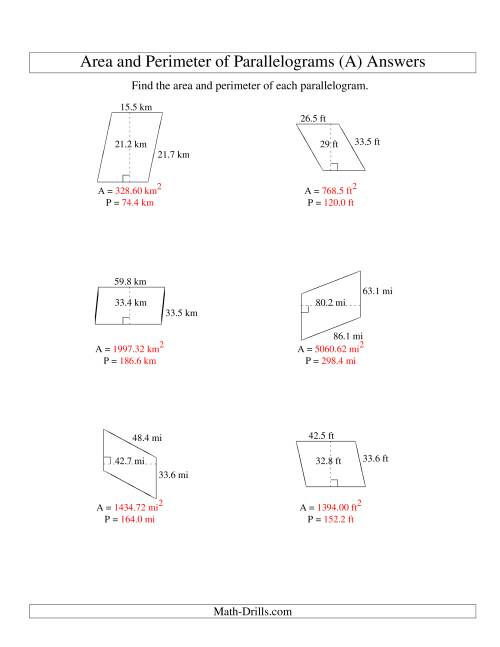 The Area and Perimeter of Parallelograms (up to 1 decimal place; range 10-99) (A) Math Worksheet Page 2