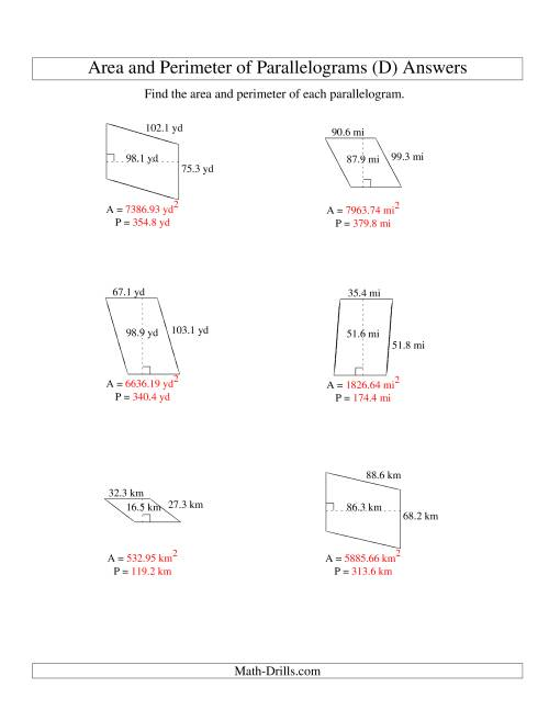 The Area and Perimeter of Parallelograms (up to 1 decimal place; range 10-99) (D) Math Worksheet Page 2